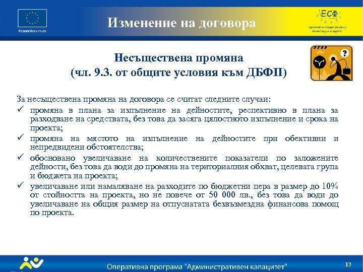 Изменение на договора Несъществена промяна (чл. 9. 3. от общите условия към ДБФП) За