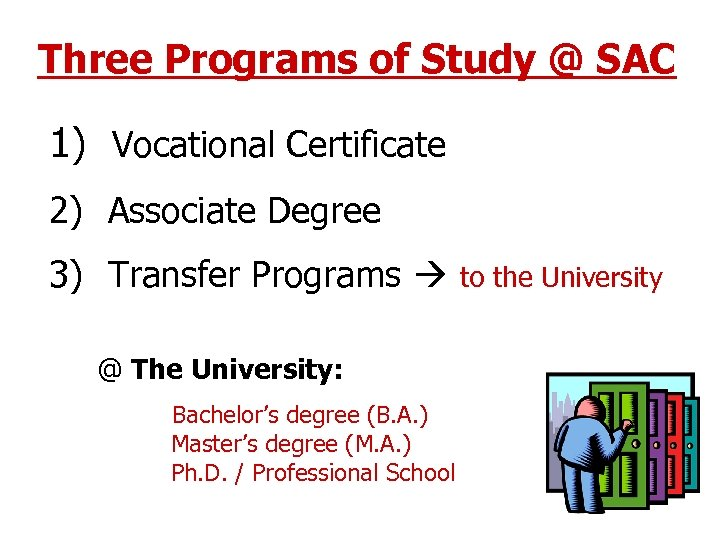 Three Programs of Study @ SAC 1) Vocational Certificate 2) Associate Degree 3) Transfer