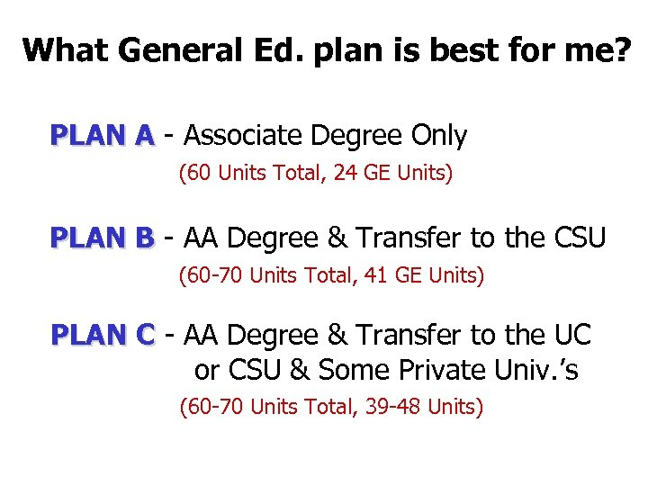 What General Ed. plan is best for me? PLAN A - Associate Degree Only
