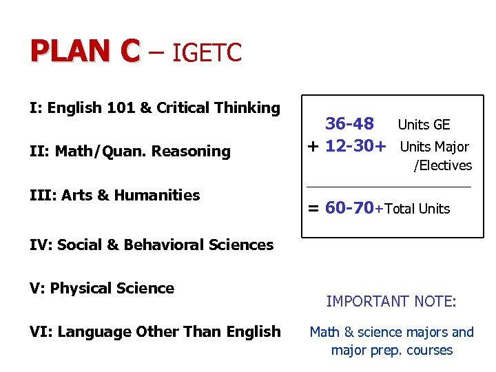 PLAN C – IGETC I: English 101 & Critical Thinking II: Math/Quan. Reasoning +