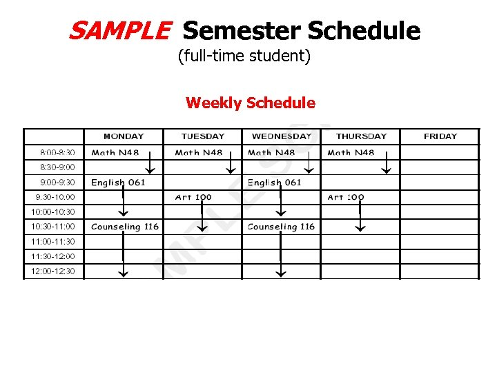 SAMPLE Semester Schedule (full-time student) Weekly Schedule
