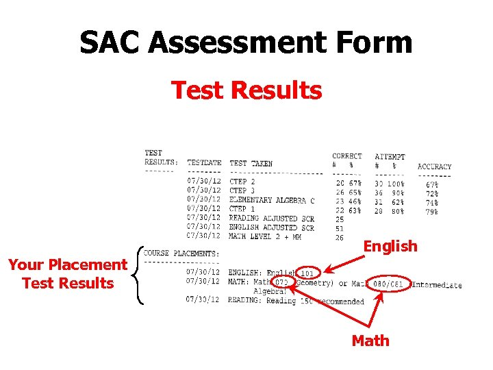 SAC Assessment Form Test Results English Your Placement Test Results Math