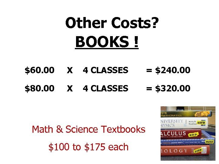 Other Costs? BOOKS ! $60. 00 X 4 CLASSES = $240. 00 $80. 00