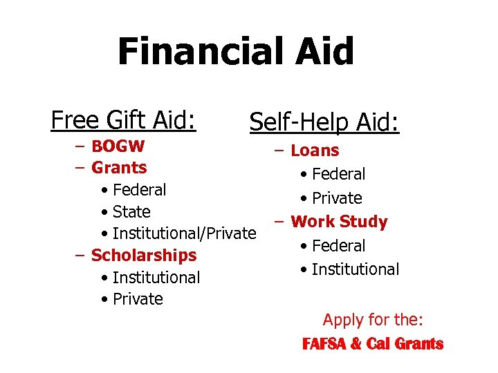 Financial Aid Free Gift Aid: Self-Help Aid: – BOGW – Grants • Federal •