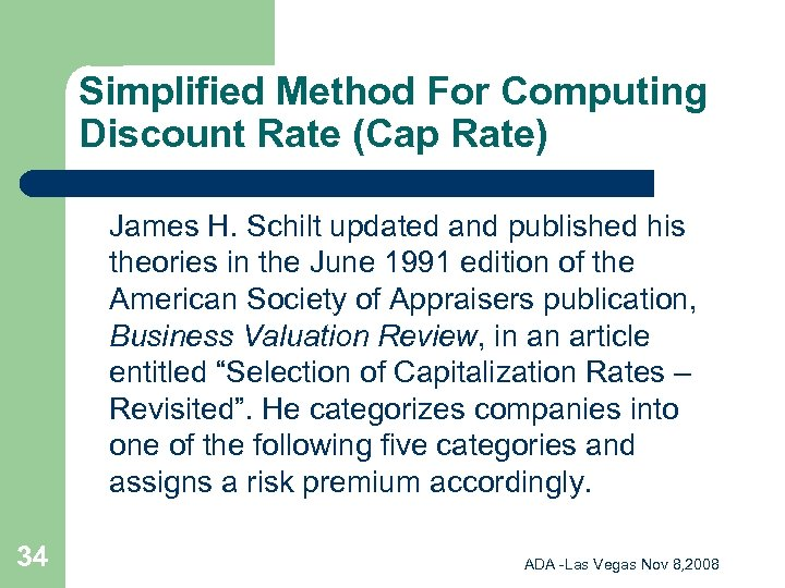 Simplified Method For Computing Discount Rate (Cap Rate) James H. Schilt updated and published