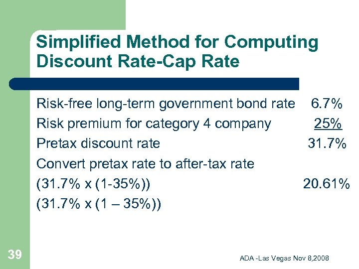 Simplified Method for Computing Discount Rate-Cap Rate Risk-free long-term government bond rate 6. 7%