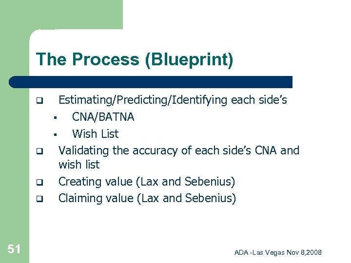 The Process (Blueprint) q q 51 Estimating/Predicting/Identifying each side's § CNA/BATNA § Wish List