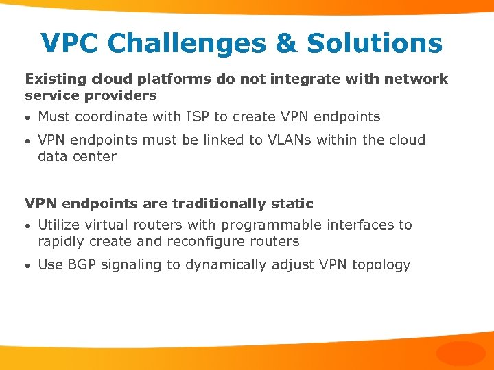VPC Challenges & Solutions Existing cloud platforms do not integrate with network service providers