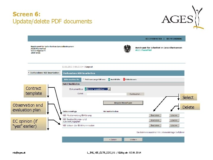 Screen 6: Update/delete PDF documents Contract template Select Observation and evaluation plan Delete EC