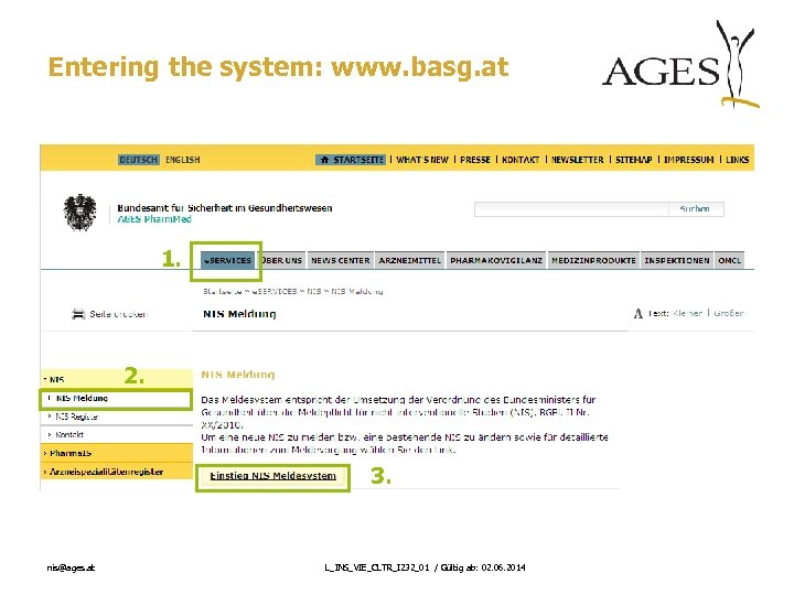 Entering the system: www. basg. at 1. 2. 3. nis@ages. at L_INS_VIE_CLTR_I 232_01 /