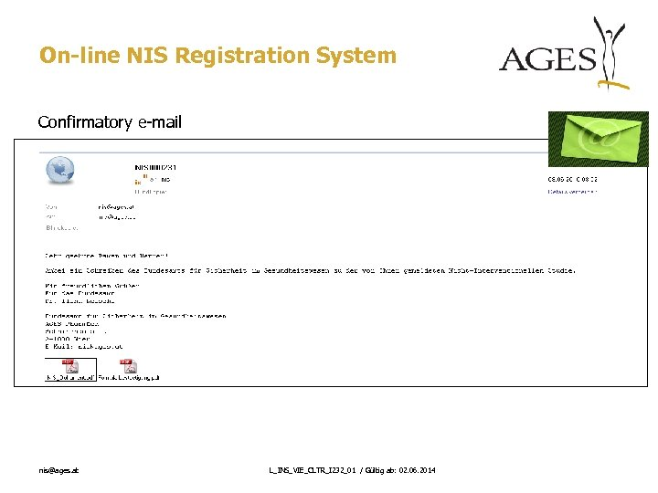 On-line NIS Registration System Confirmatory e-mail nis@ages. at L_INS_VIE_CLTR_I 232_01 / Gültig ab: 02.