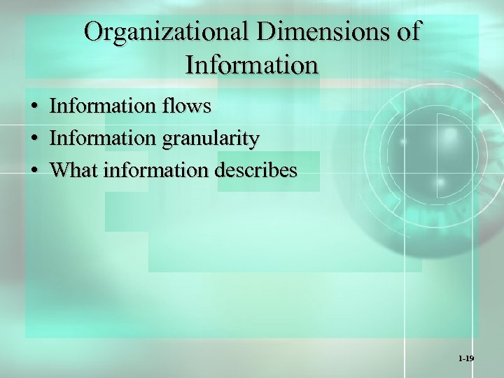 Organizational Dimensions of Information • Information flows • Information granularity • What information describes