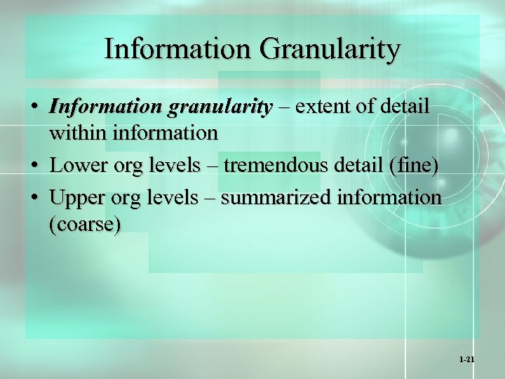 Information Granularity • Information granularity – extent of detail within information • Lower org
