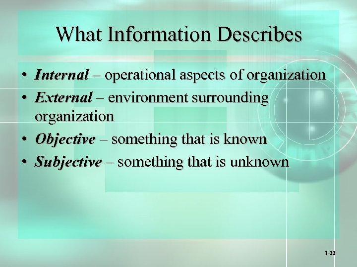 What Information Describes • Internal – operational aspects of organization • External – environment