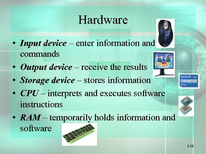 Hardware • Input device – enter information and commands • Output device – receive