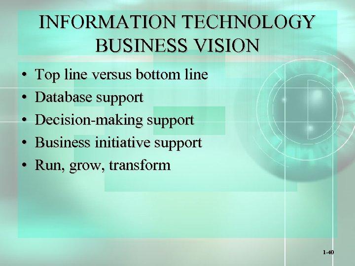 INFORMATION TECHNOLOGY BUSINESS VISION • • • Top line versus bottom line Database support