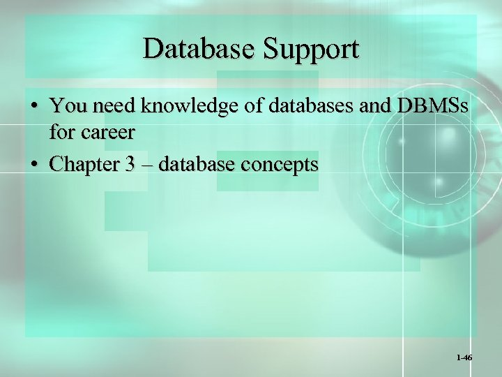 Database Support • You need knowledge of databases and DBMSs for career • Chapter