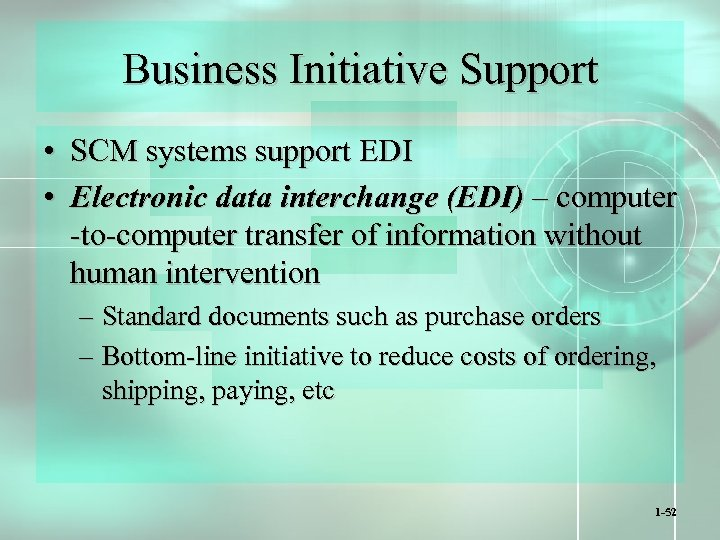 Business Initiative Support • SCM systems support EDI • Electronic data interchange (EDI) –