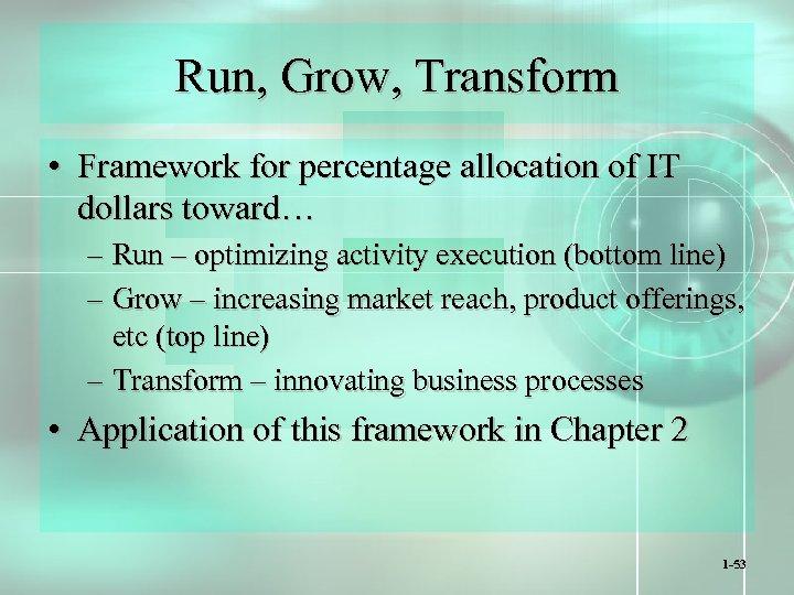 Run, Grow, Transform • Framework for percentage allocation of IT dollars toward… – Run