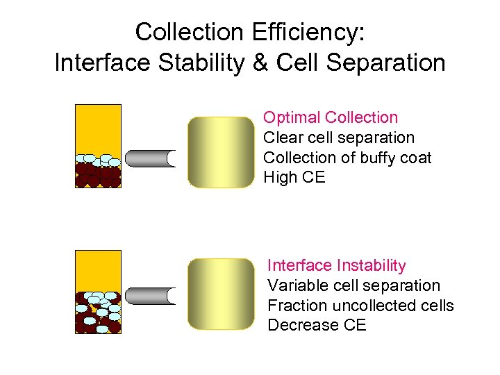 Collection Efficiency: Interface Stability & Cell Separation Optimal Collection Clear cell separation Collection of