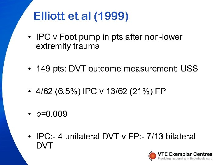 Elliott et al (1999) • IPC v Foot pump in pts after non-lower extremity
