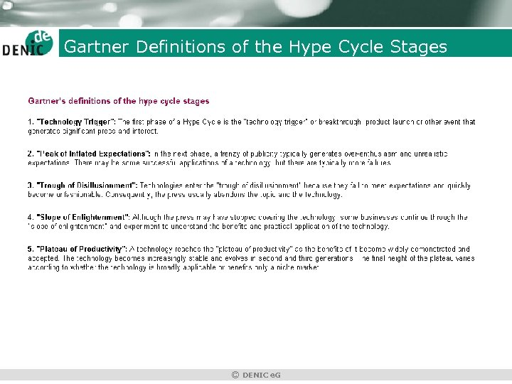 Gartner Definitions of the Hype Cycle Stages © DENIC e. G