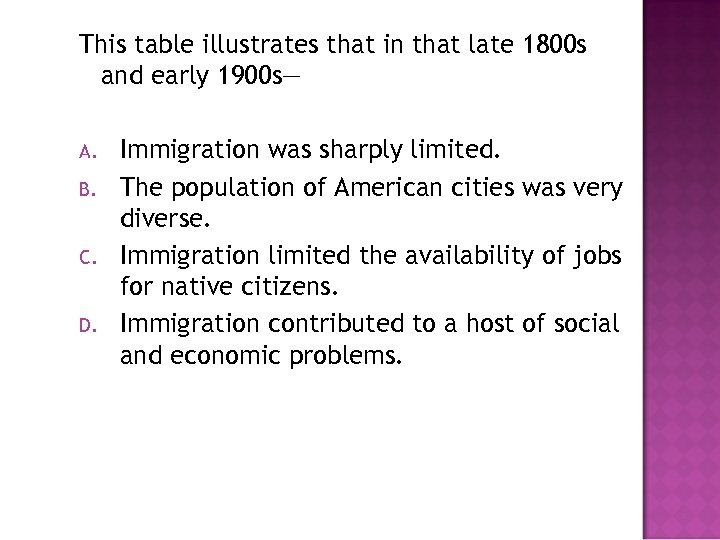 This table illustrates that in that late 1800 s and early 1900 s— A.