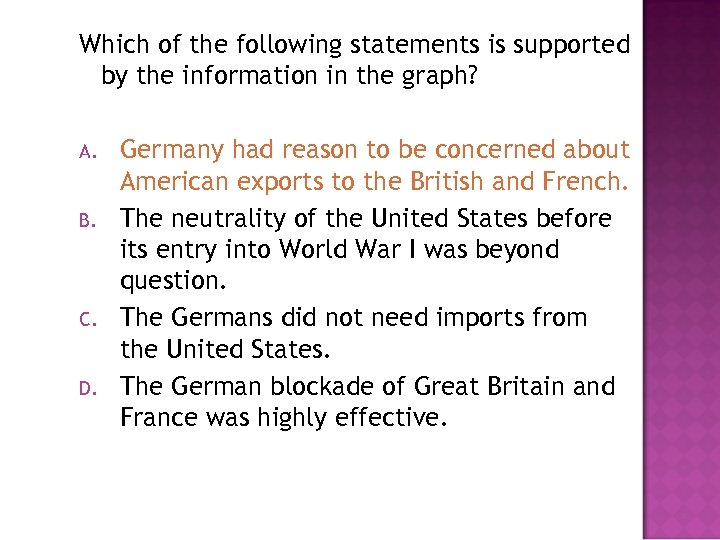 Which of the following statements is supported by the information in the graph? A.
