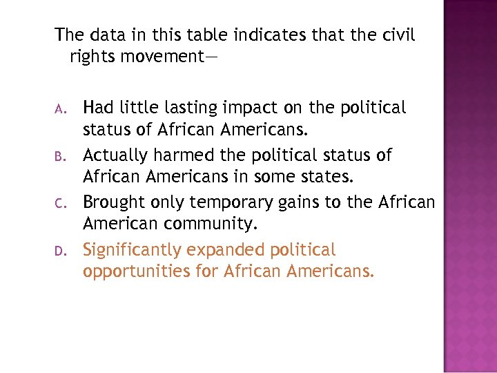 The data in this table indicates that the civil rights movement— A. B. C.