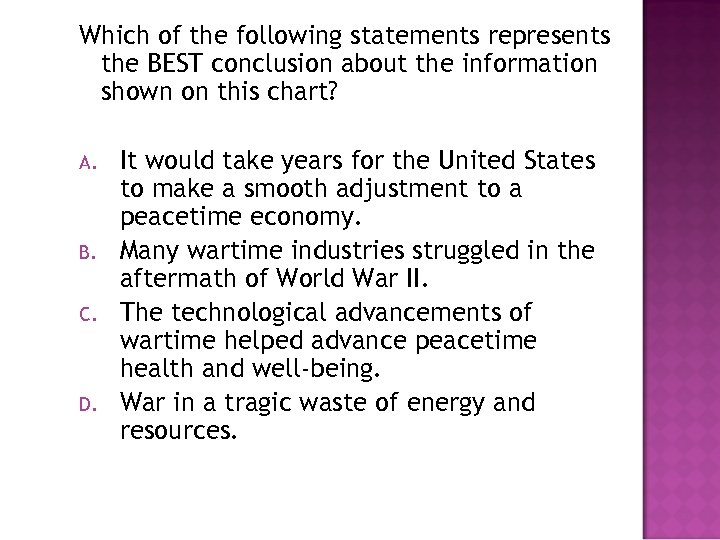 Which of the following statements represents the BEST conclusion about the information shown on