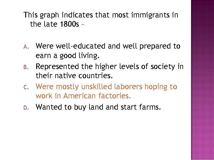 This graph indicates that most immigrants in the late 1800 s – A. B.