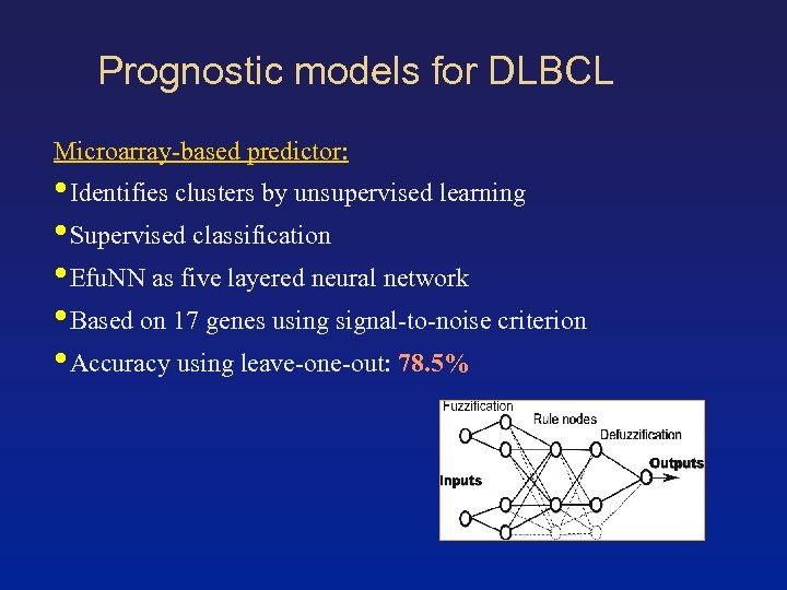 Prognostic models for DLBCL Microarray-based predictor: • Identifies clusters by unsupervised learning • Supervised