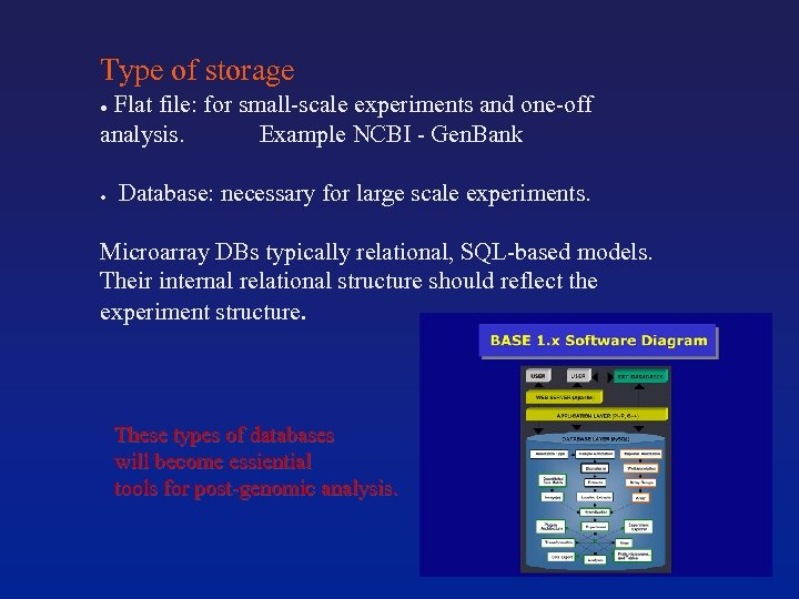 Type of storage ● Flat file: for small-scale experiments and one-off analysis. Example NCBI