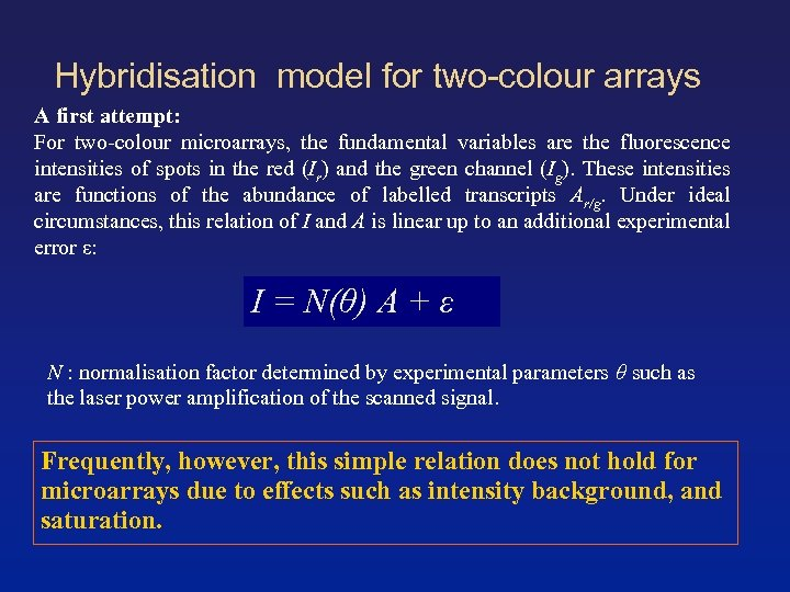 Hybridisation model for two-colour arrays A first attempt: For two-colour microarrays, the fundamental variables
