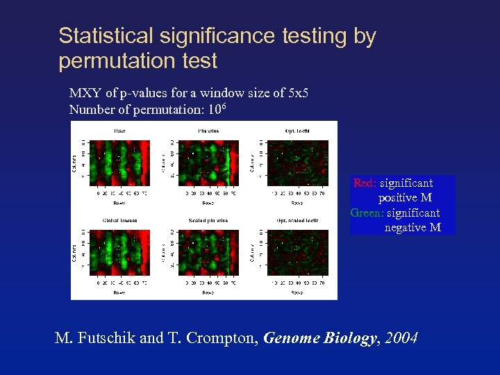 Statistical significance testing by permutation test MXY of p-values for a window size of