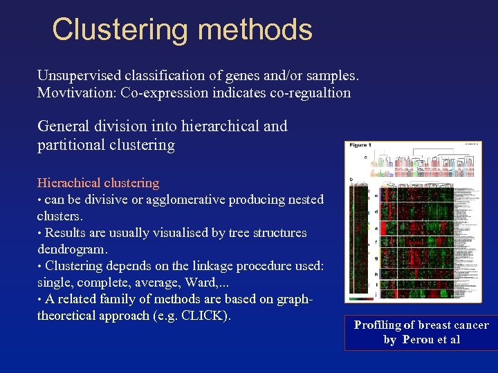 Clustering methods Unsupervised classification of genes and/or samples. Movtivation: Co-expression indicates co-regualtion General division