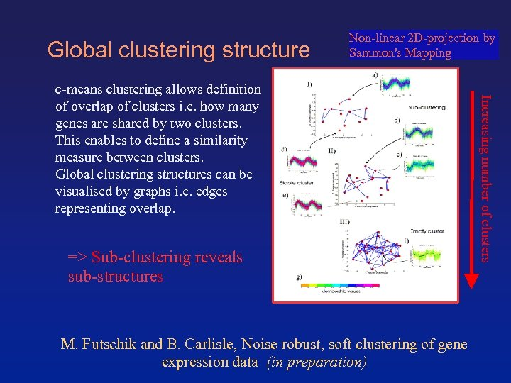 Global clustering structure Non-linear 2 D-projection by Sammon's Mapping => Sub-clustering reveals sub-structures M.