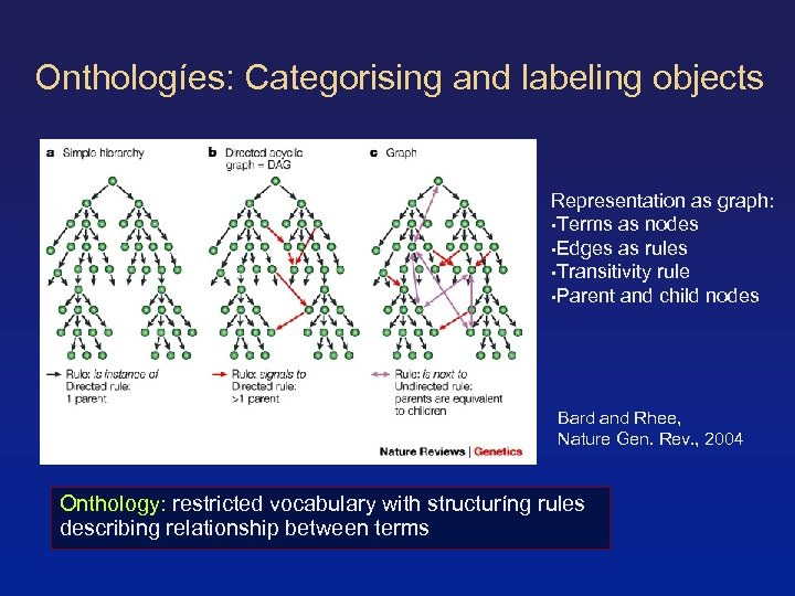 Onthologíes: Categorising and labeling objects Representation as graph: • Terms as nodes • Edges