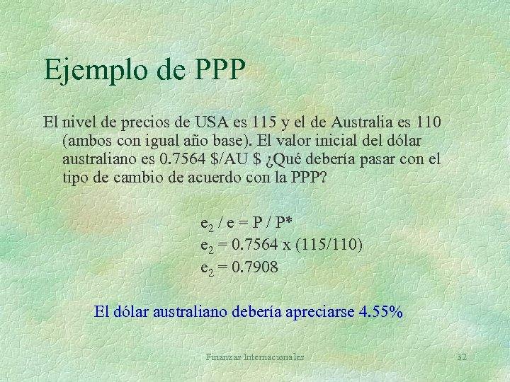 Ejemplo de PPP El nivel de precios de USA es 115 y el de