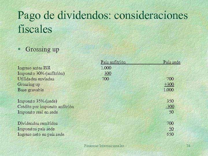 Pago de dividendos: consideraciones fiscales § Grossing up Ingreso antes ISR Impuesto 30% (anfitrión)
