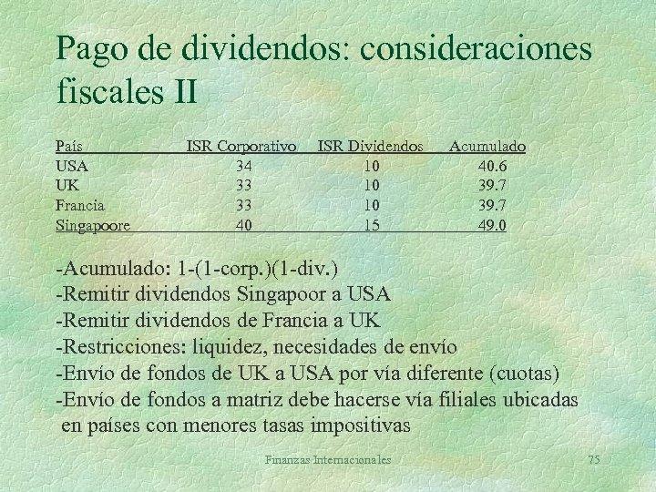 Pago de dividendos: consideraciones fiscales II País USA UK Francia Singapoore ISR Corporativo 34