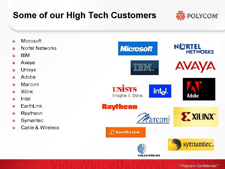 Some of our High Tech Customers Microsoft Nortel Networks IBM Avaya Unisys Adobe Marconi