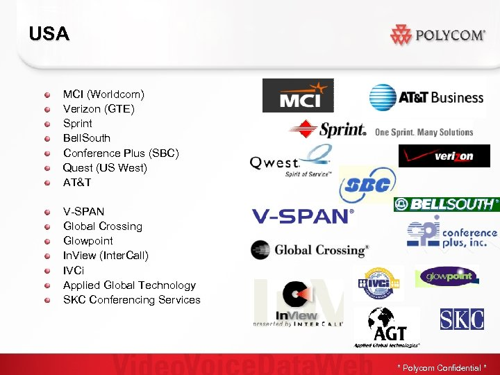 USA MCI (Worldcom) Verizon (GTE) Sprint Bell. South Conference Plus (SBC) Quest (US West)