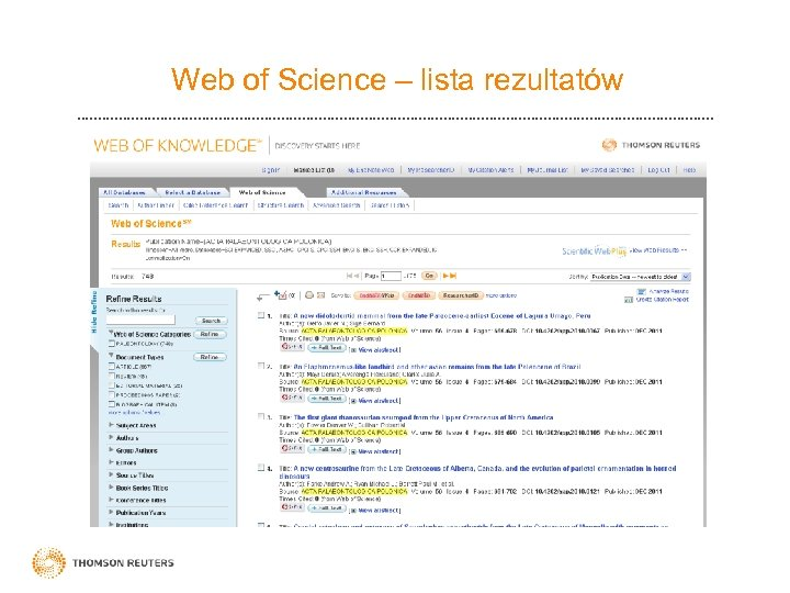 Web of Science – lista rezultatów