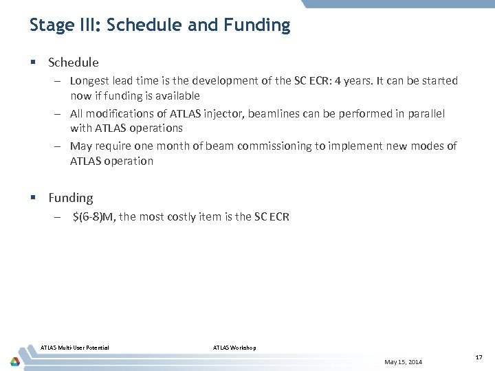 Stage III: Schedule and Funding § Schedule – Longest lead time is the development