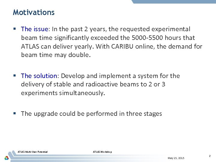 Motivations § The issue: In the past 2 years, the requested experimental beam time