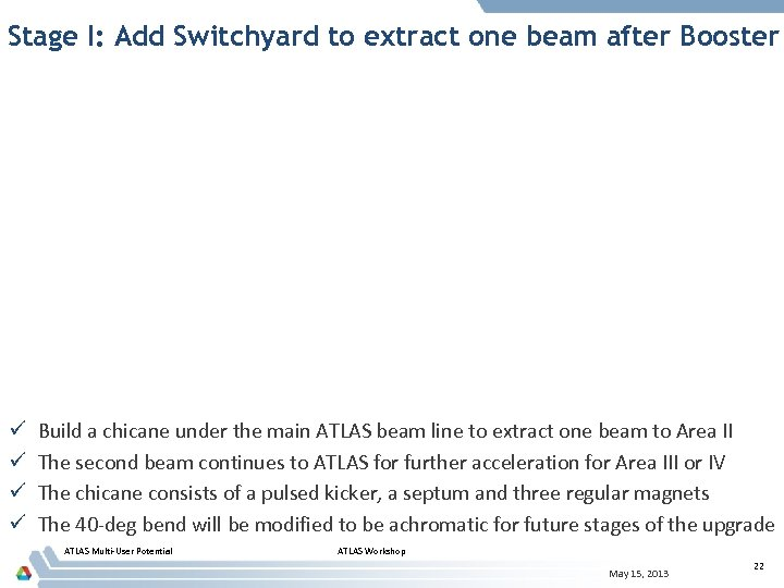 Stage I: Add Switchyard to extract one beam after Booster ü ü Build a