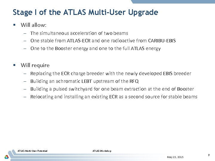 Stage I of the ATLAS Multi-User Upgrade § Will allow: – The simultaneous acceleration