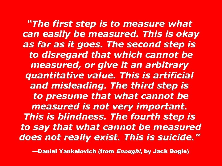 """The first step is to measure what can easily be measured. This is okay"