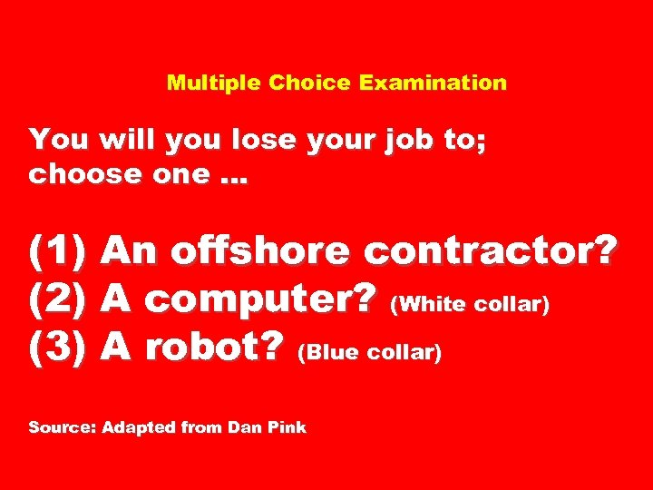 Multiple Choice Examination You will you lose your job to; choose one … (1)